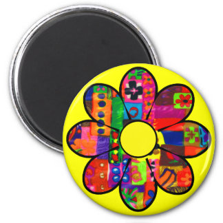 Sixties Flower Power 2 Inch Round Magnet