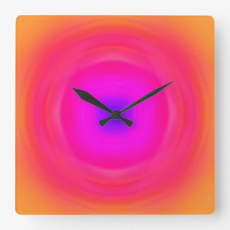 Sixties Gradient - Pink Blue Purple Orange Yellow Square Wall Clock