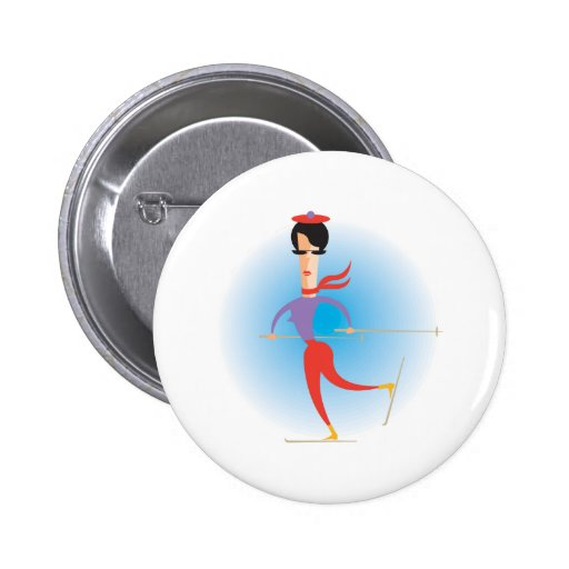 Sixties Lady Skier Button
