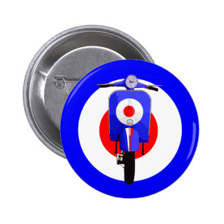 Sixties Look Scooter on Mod Target 2 Inch Round Button