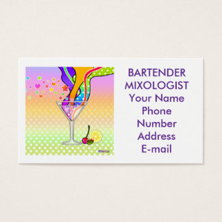 SIXTIES POP ART STYLE MARTINI BUSINESS CARD
