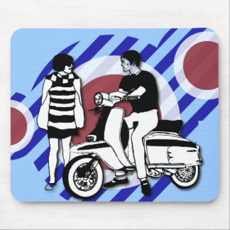 Sixties scooter boy and girl Vintage Scooter Mouse Pad
