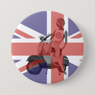 Sixties scooter girl art 3 inch round button