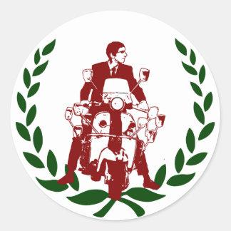 Sixties Scooter Rider Italia Classic Round Sticker
