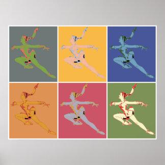 Sixties style popart ice ballerina x 6 posters