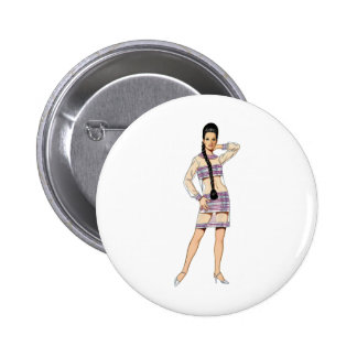 Sixties Transparent Dress 2 Inch Round Button