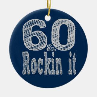 Sixty and Rockin It Round Ceramic Ornament