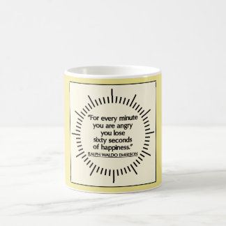 'Sixty seconds of Happiness' Emerson quote mug