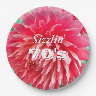 Sizzlin' 70th Birthday Red Floral Paper Plate