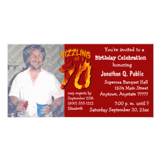Sizzling At 70 Birthday Party Photo Invitation Customized Photo Card