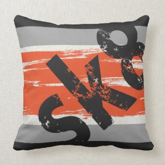 Sk8 - Skateboard Word Pillow Orange Charcoal Grey
