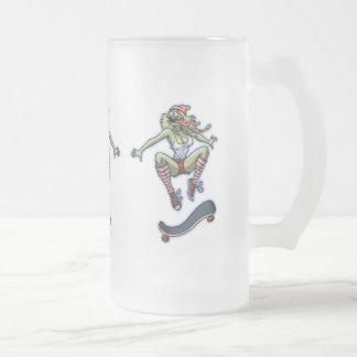 Sk8frog Fran Frosted Glass Beer Mug