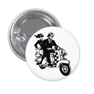 Ska Couple on Scooter 1 Inch Round Button
