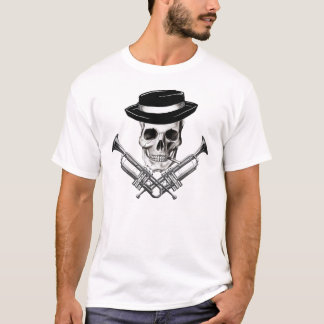 Ska skull with trumpet crossbones T-Shirt