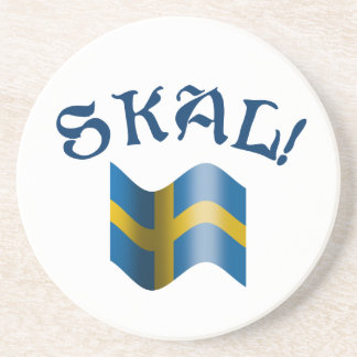 Skal Swedish Drinking Toast with Flag of Sweden Coaster