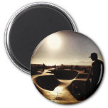 skate boarding in hollywood 2 inch round magnet
