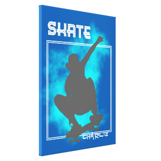 Skate Boarding Silhouette Graphic Personalized Canvas Print