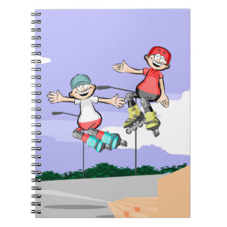 Skate on glad young wheels jumping notebooks