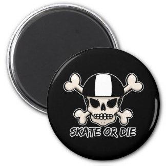 Skate or die skull and crossbones 2 inch round magnet