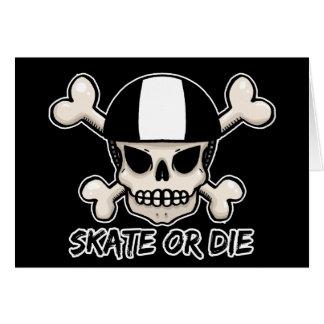 Skate or die skull and crossbones card