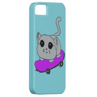 skateboard cat, light blue Iphone 5 case
