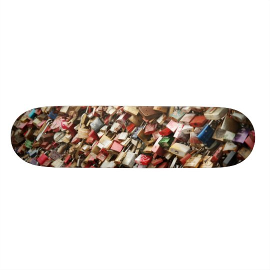 Skateboard covered with coloured locks design