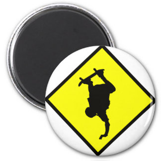 Skateboard Crossing Sign 2 Inch Round Magnet