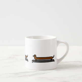 Skateboard dachshund dog espresso mug