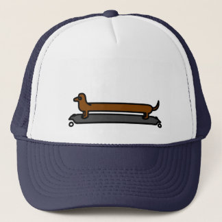 Skateboard dachshund dog trucker cap/ hat
