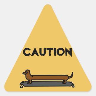 Skateboard dachshund dog yellow triangle stickers