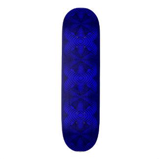 Skateboard Deck; 3D Fractal Design, Electric Blue