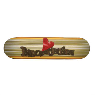 "Skateboard deck ""I Love Munich"" with wood sample"