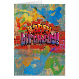 Skateboard Graffiti Birthday Card