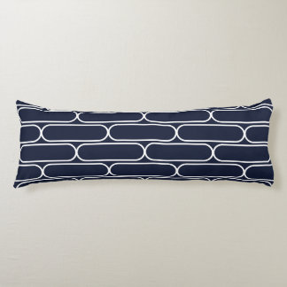 Skateboard Hourglass Navy And White Body Pillow
