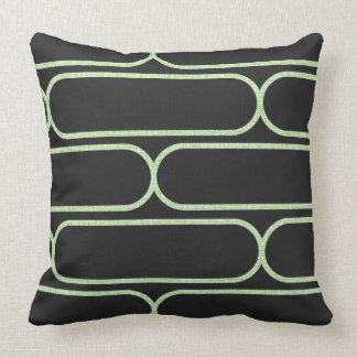 Skateboard Hourglass Throw Pillow Grey & Lt Green