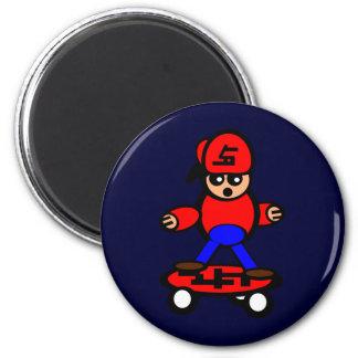 Skateboard Kid 2 Inch Round Magnet