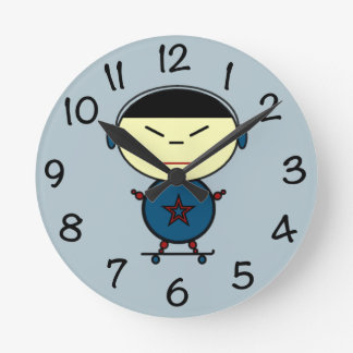 Skateboard Kid Clock