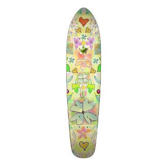 Skateboard Leaves Hearts Flowers Green Multi