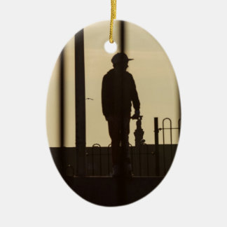 Skateboard Park Sunset Ceramic Ornament
