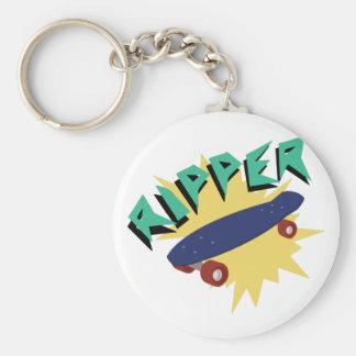 Skateboard Ripper Basic Round Button Keychain