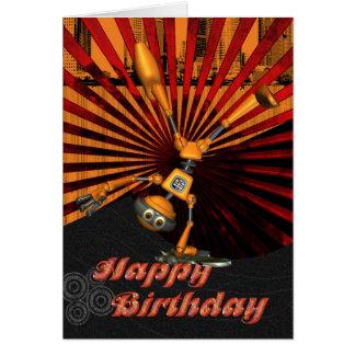 Skateboard Robot Birthday Card