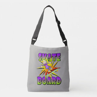 Skateboard text in violet colour with boy skating crossbody bag