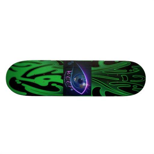 Skateboard- WEEP neon green weeping eye logo