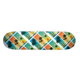 Skateboard with Vibrant Tropical Graphic