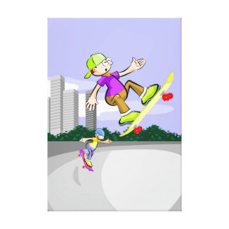 Skateboard young in pleta acrobatic action canvas print