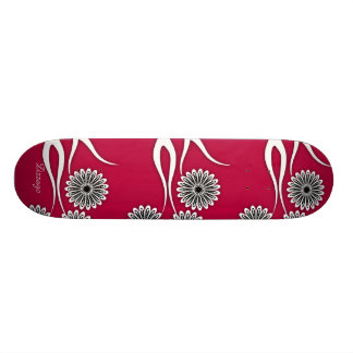 Skateboard Zizzago Red Pink Floral