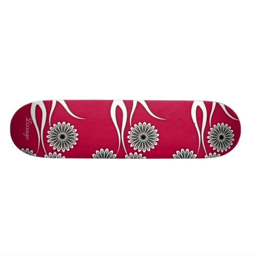 Skateboard Zizzago Red Pink Floral Skateboard Deck