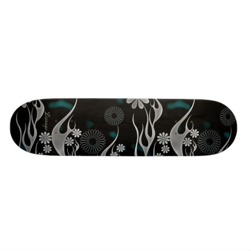 Skateboard Zizzago Silver Blue Black Floral Skate Decks