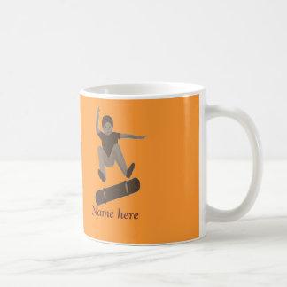 Skateboarder and name on mugs