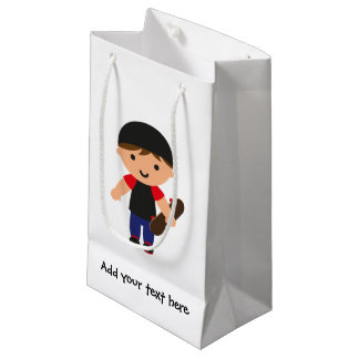 Skateboarder Boy (Brown Hair) Small Gift Bag
